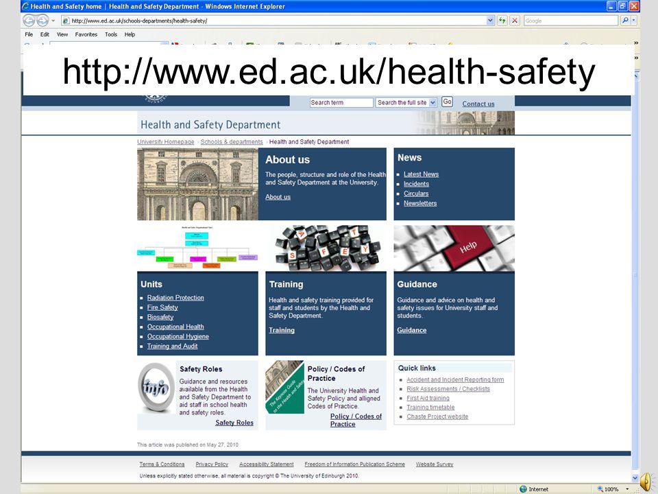 THE UNIVERSITY of EDINBURGH HEALTH and SAFETY DEPARTMENT Health and Safety Department contacts: 651 4255 Health.Safety@ed.ac.uk Fire@ed.ac.uk Occupati