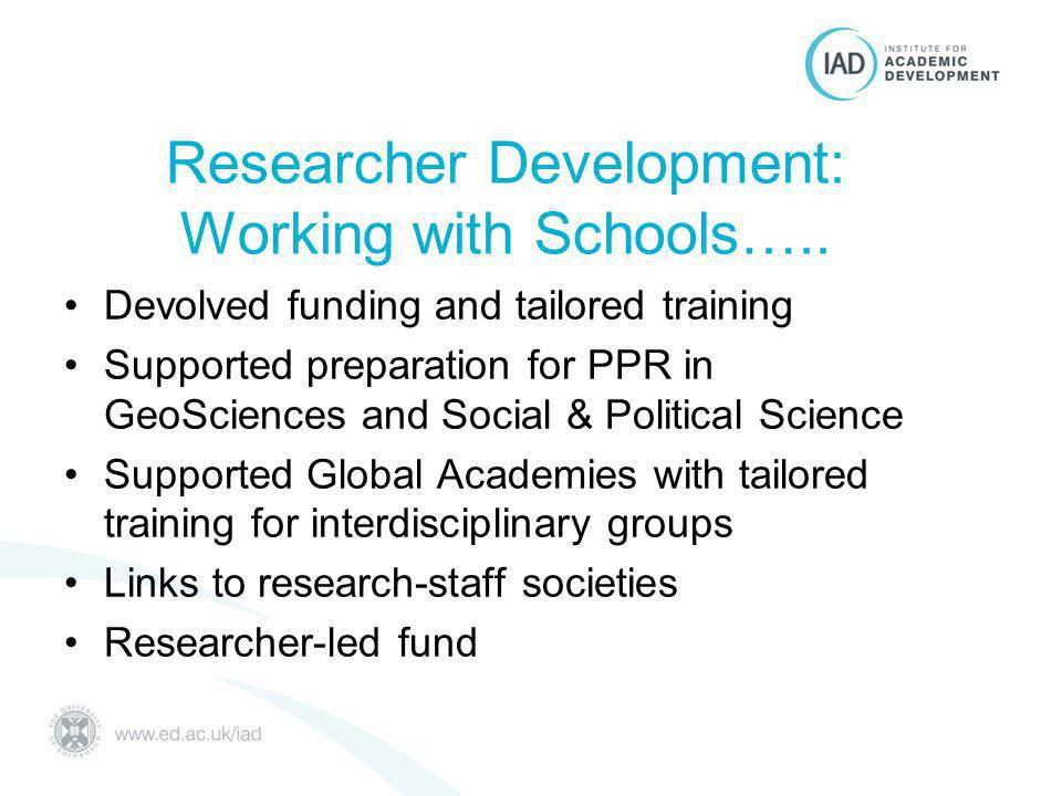 Researcher Development: Working with Schools…..