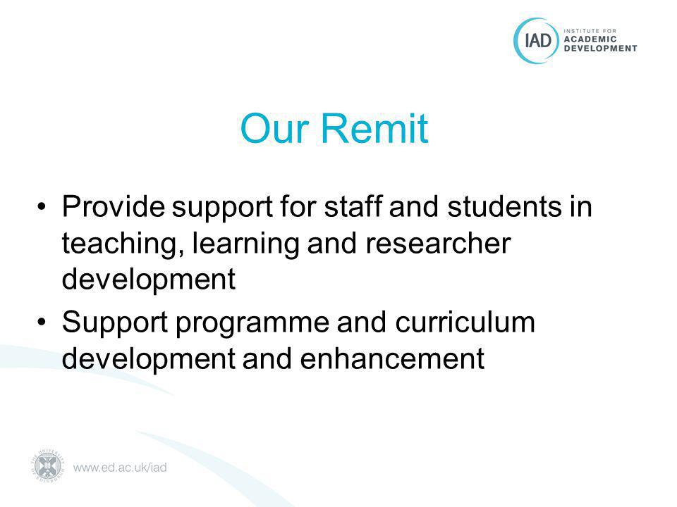 Our approach Support College/University strategic priorities Work closely and collaboratively with Schools & support services Provide clearer routes to support (for students and staff) Consider full continuum of requirements (UG, PGT, PGR, early career researchers, academic & teaching staff)
