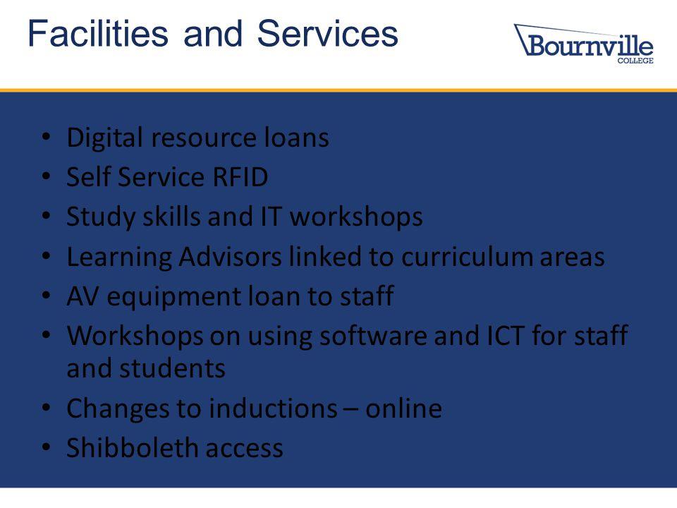 Digital resource loans Self Service RFID Study skills and IT workshops Learning Advisors linked to curriculum areas AV equipment loan to staff Worksho