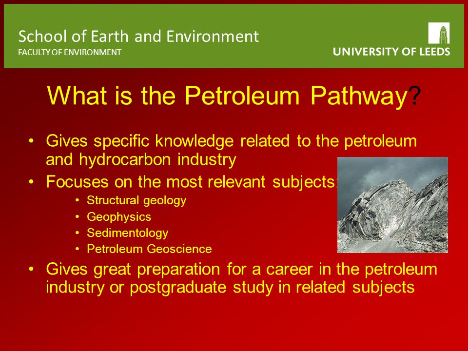 School of Earth and Environment FACULTY OF ENVIRONMENT What is the Petroleum Pathway.