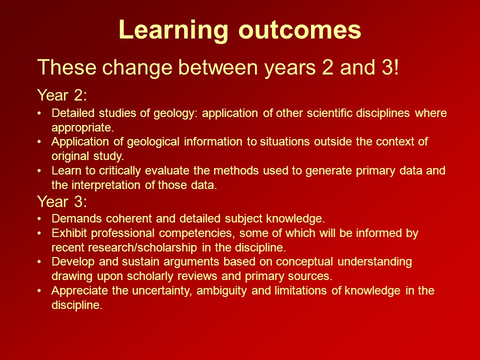 Learning outcomes These change between years 2 and 3.
