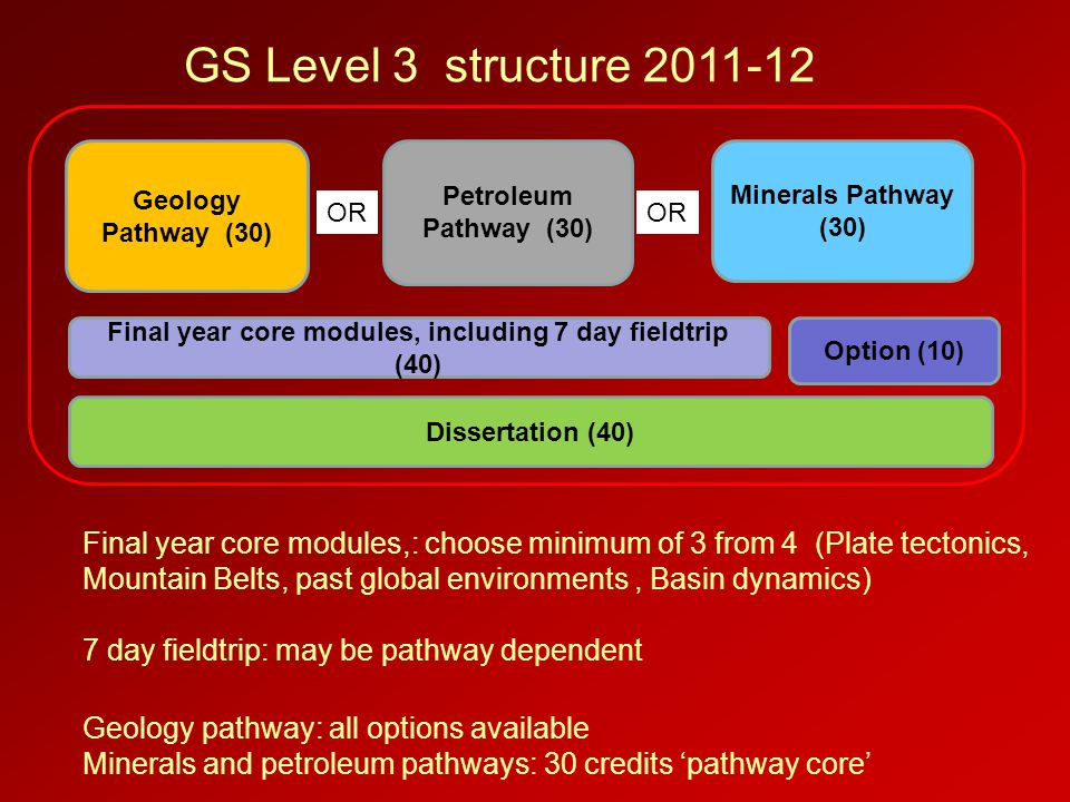 Geology Pathway (30) Option (10) Dissertation (40) Final year core modules, including 7 day fieldtrip (40) Petroleum Pathway (30) Minerals Pathway (30
