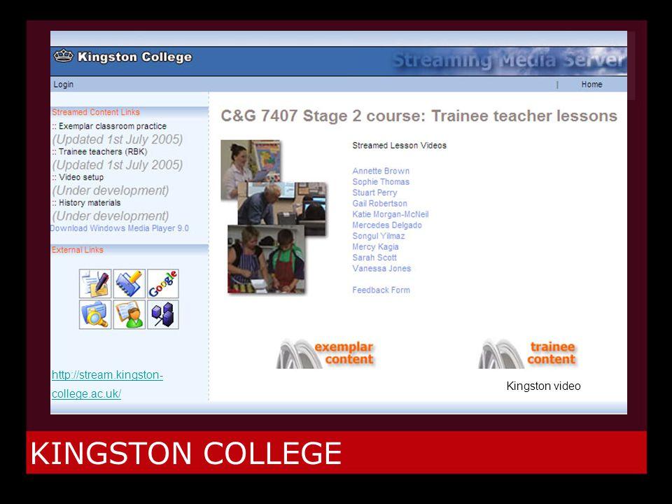 KINGSTON COLLEGE Kingston video http://stream.kingston- college.ac.uk/