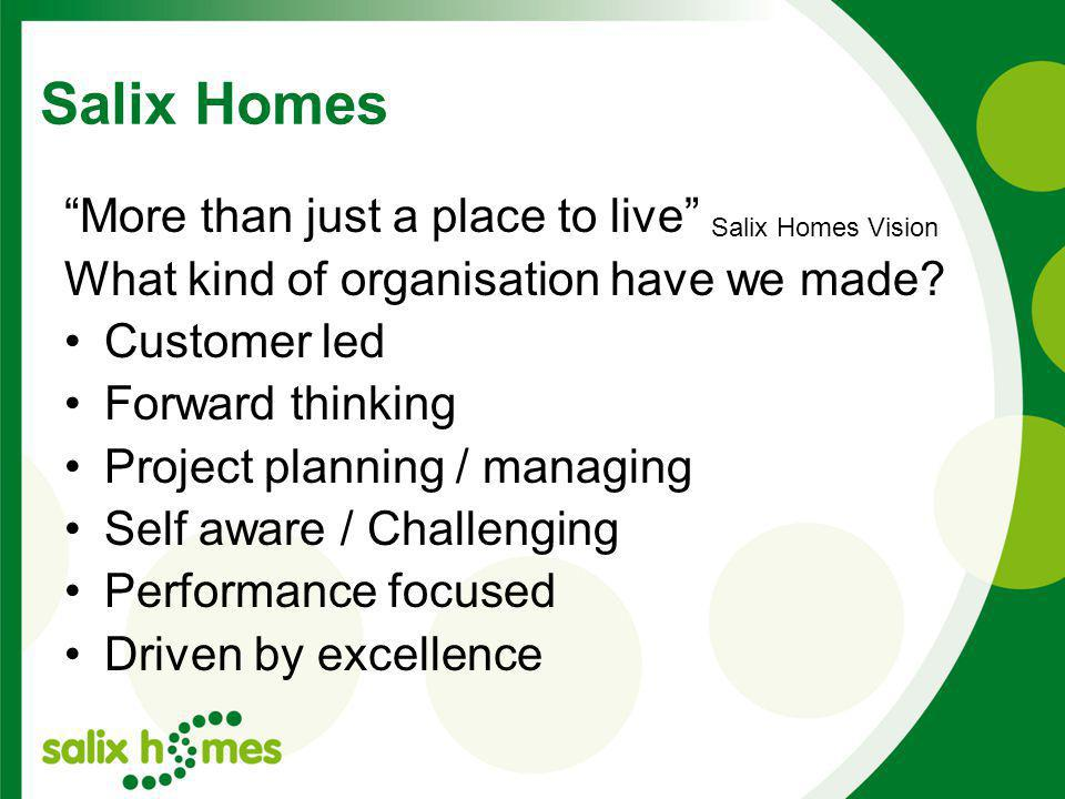 Salix Homes More than just a place to live What kind of organisation have we made.