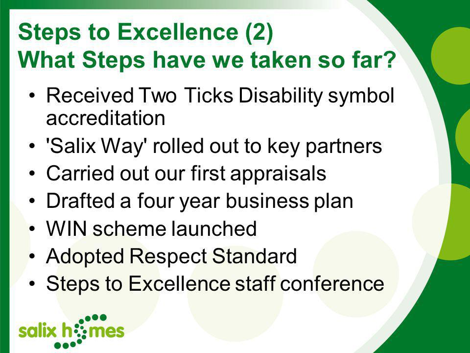 Steps to Excellence (2) What Steps have we taken so far.