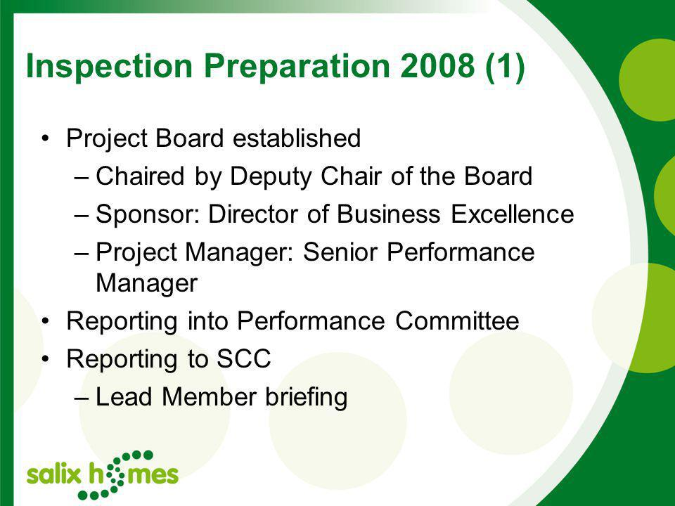 Inspection Preparation 2008 (1) Project Board established –Chaired by Deputy Chair of the Board –Sponsor: Director of Business Excellence –Project Manager: Senior Performance Manager Reporting into Performance Committee Reporting to SCC –Lead Member briefing