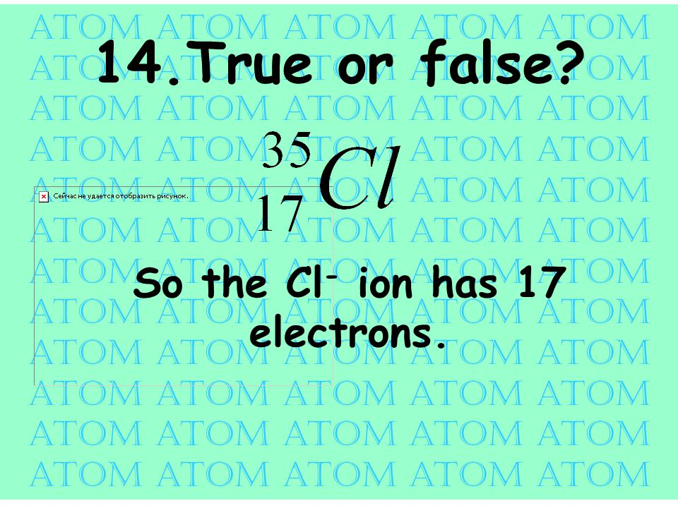 atom atom atom atom atom 14.True or false So the Cl - ion has 17 electrons.