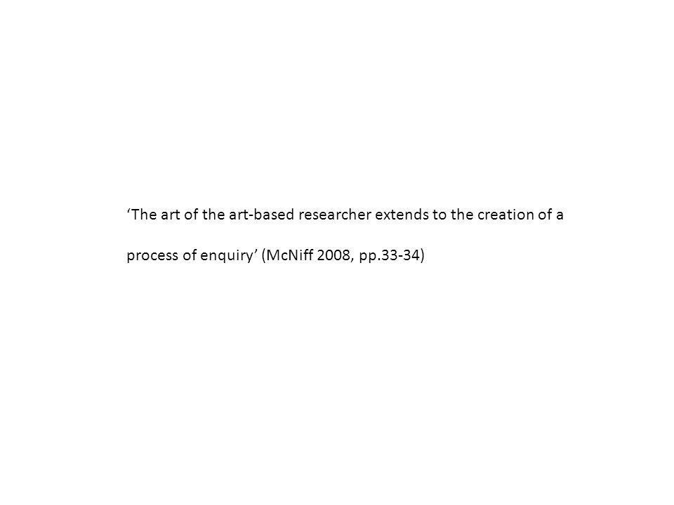'The art of the art-based researcher extends to the creation of a process of enquiry' (McNiff 2008, pp.33-34)