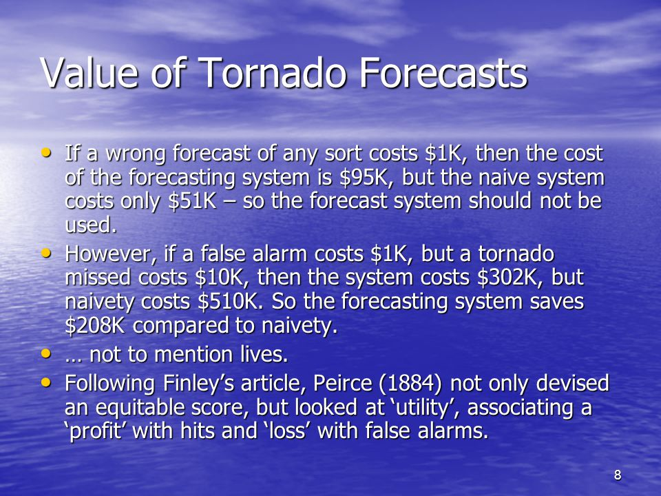 19 Consistent scores - remarks The assumption of how the forecaster behaves (forecast deterministically when his/her beliefs are probabilistic) implies that the forecaster always hedges in the sense that true beliefs are not forecast.