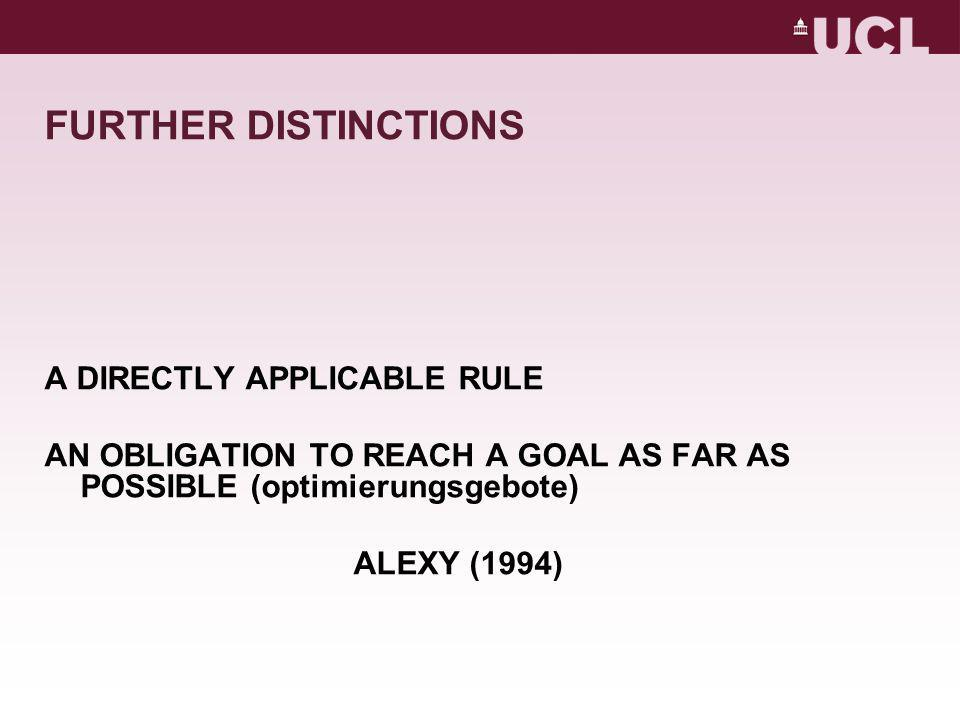 FURTHER DISTINCTIONS A DIRECTLY APPLICABLE RULE AN OBLIGATION TO REACH A GOAL AS FAR AS POSSIBLE (optimierungsgebote) ALEXY (1994)