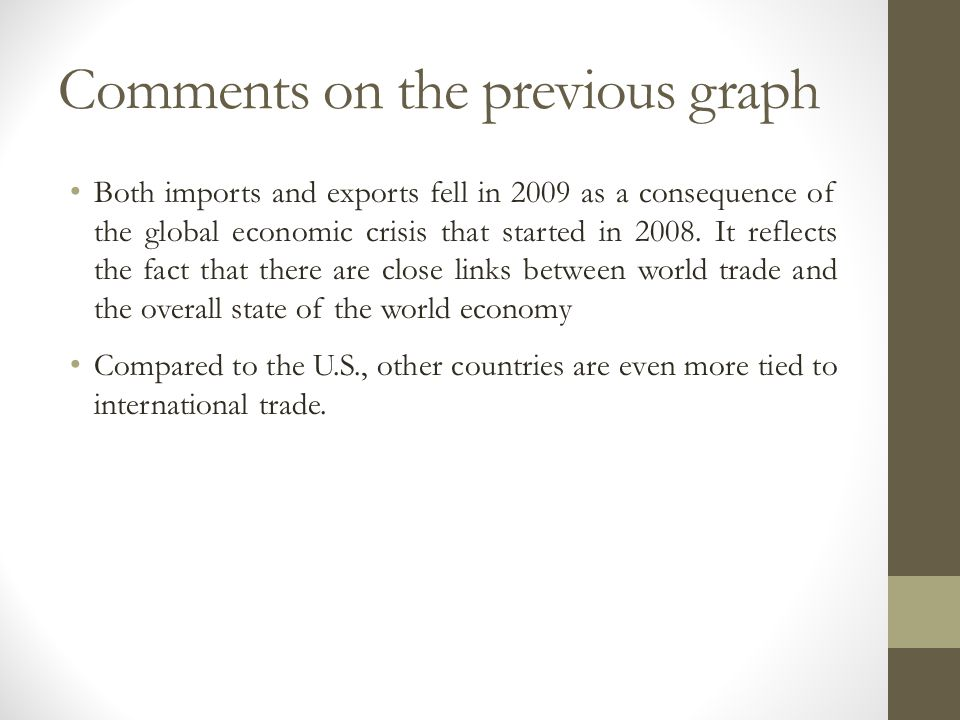 Comments on the previous graph Both imports and exports fell in 2009 as a consequence of the global economic crisis that started in 2008. It reflects