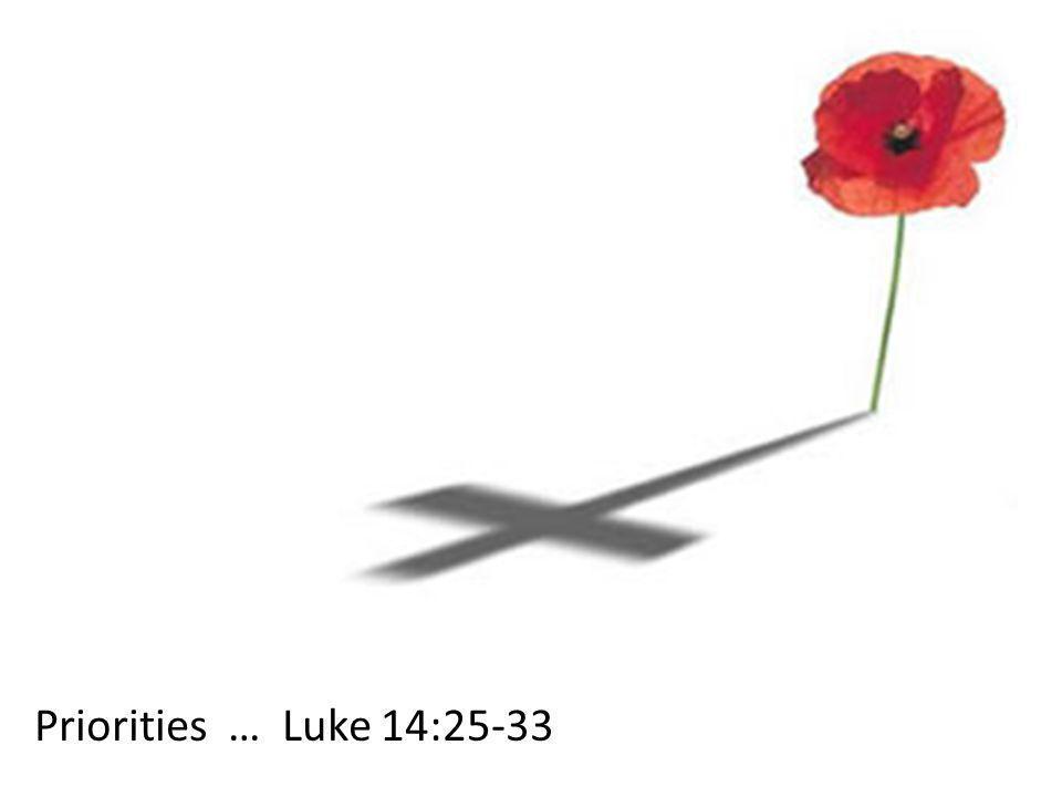 Luke 14:1-14 3 Scenarios that highlight wrong priorities  Religious procedures & duties 14:1-6  Prestige in the community 14:7-11  Social stability 14:12-14