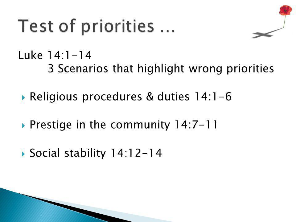 Luke 14:15-24 one scenario with 3 excuses that illustrate seriously wrong priorities  Possessions 14:15-18  Employment14:19  Family Life 14:20