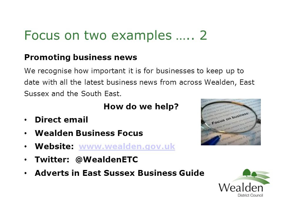 Focus on two examples …..