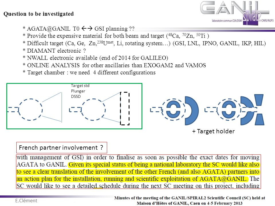 E.Clément Novembre 2011 Question to be investigated * AGATA@GANIL T0  GSI planning ?? * Provide the expensive material for both beam and target ( 48