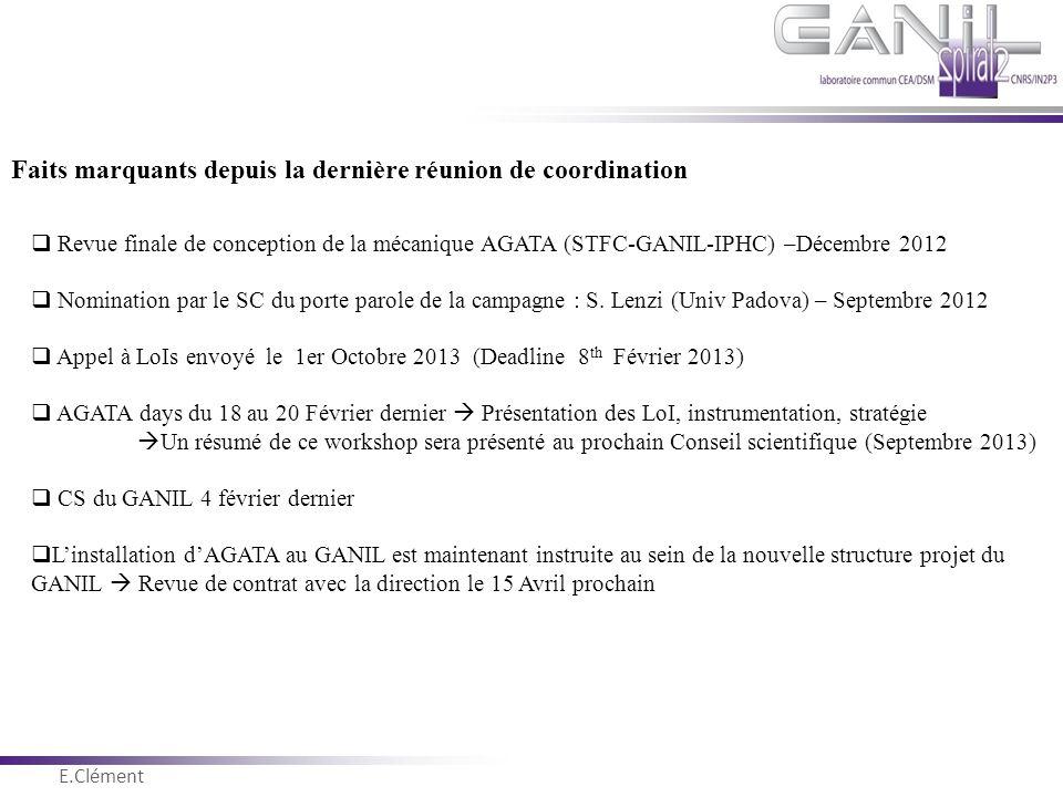 E.Clément Novembre 2011 Faits marquants depuis la dernière réunion de coordination  Revue finale de conception de la mécanique AGATA (STFC-GANIL-IPHC
