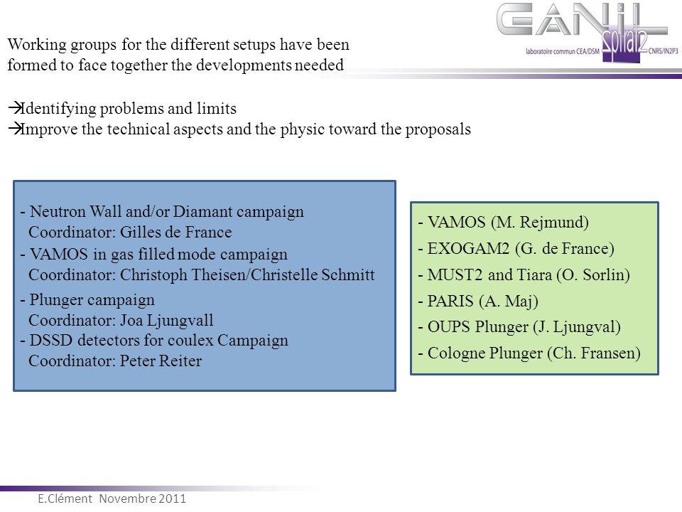 E.Clément Novembre 2011 - Neutron Wall and/or Diamant campaign Coordinator: Gilles de France - VAMOS in gas filled mode campaign Coordinator: Christop