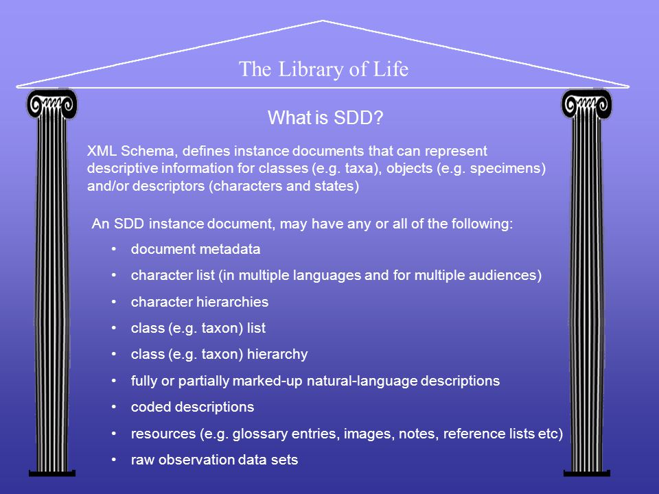 The Library of Life XML Schema, defines instance documents that can represent descriptive information for classes (e.g.