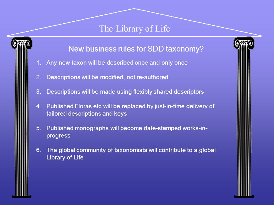 The Library of Life 1.Any new taxon will be described once and only once 2.Descriptions will be modified, not re-authored 3.Descriptions will be made using flexibly shared descriptors 4.Published Floras etc will be replaced by just-in-time delivery of tailored descriptions and keys 5.Published monographs will become date-stamped works-in- progress 6.The global community of taxonomists will contribute to a global Library of Life New business rules for SDD taxonomy?