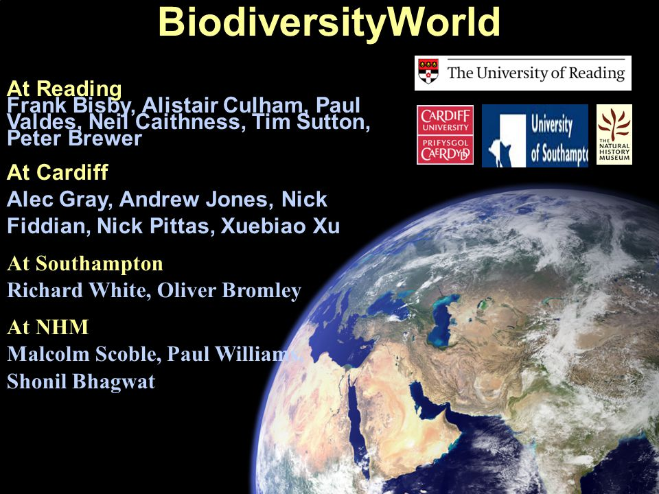 At Reading Frank Bisby, Alistair Culham, Paul Valdes, Neil Caithness, Tim Sutton, Peter Brewer At Cardiff Alec Gray, Andrew Jones, Nick Fiddian, Nick Pittas, Xuebiao Xu At Southampton Richard White, Oliver Bromley At NHM Malcolm Scoble, Paul Williams, Shonil Bhagwat BiodiversityWorld