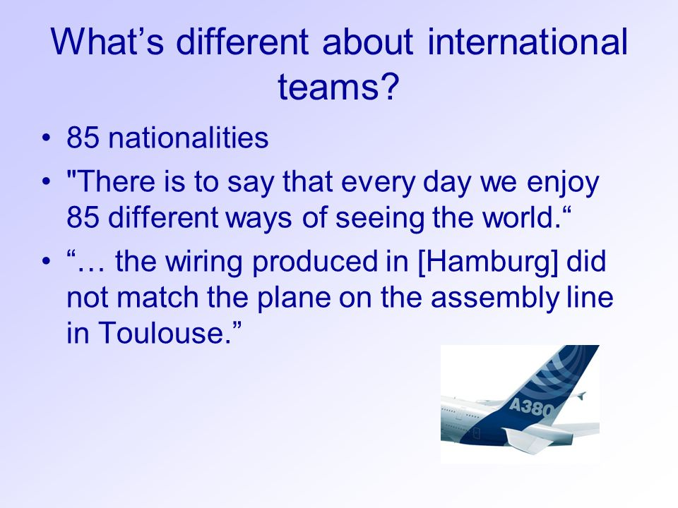 What's different about international teams? 85 nationalities