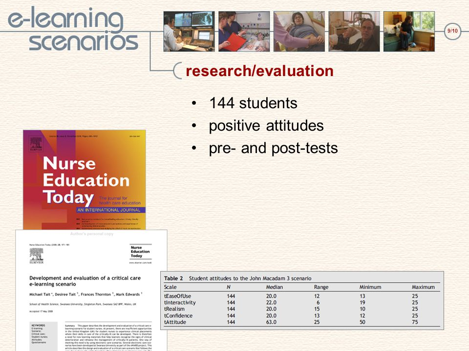 9/10 research/evaluation 144 students positive attitudes pre- and post-tests