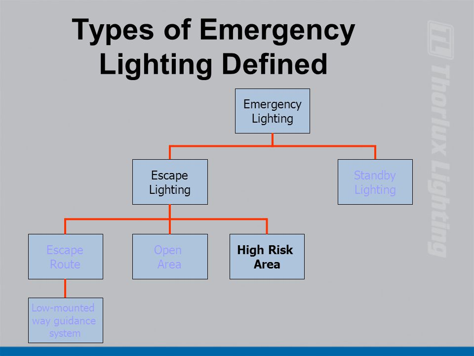 Types of Emergency Lighting Defined Emergency Lighting Standby Lighting Low-mounted way guidance system High Risk Area Open Area Escape Route Escape L