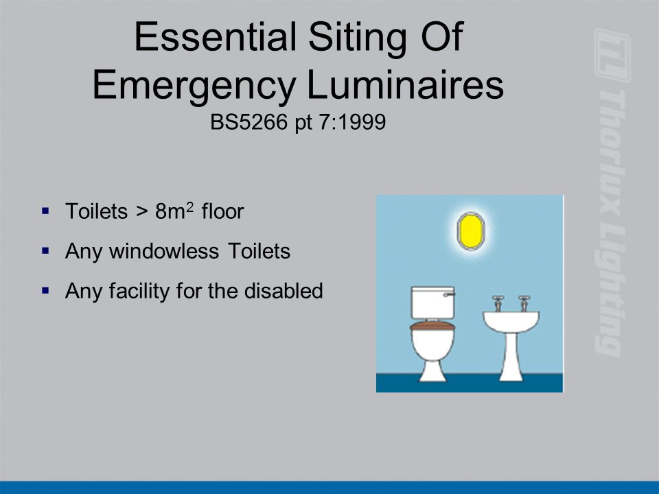 Essential Siting Of Emergency Luminaires BS5266 pt 7:1999   Toilets > 8m 2 floor   Any windowless Toilets   Any facility for the disabled