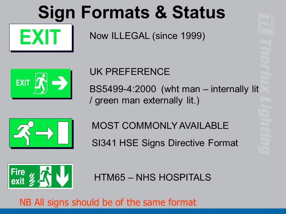 Sign Formats & Status Now ILLEGAL (since 1999) UK PREFERENCE BS5499-4:2000 (wht man – internally lit / green man externally lit.) MOST COMMONLY AVAILA