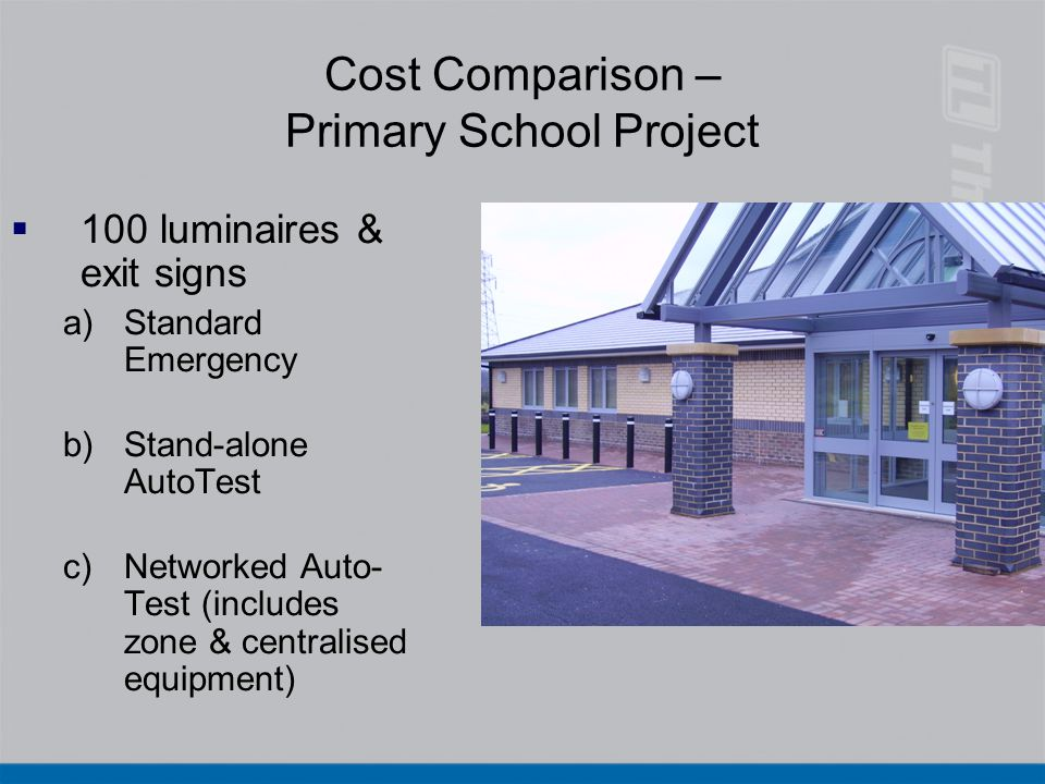 Cost Comparison – Primary School Project  100 luminaires & exit signs a)Standard Emergency b)Stand-alone AutoTest c)Networked Auto- Test (includes zo
