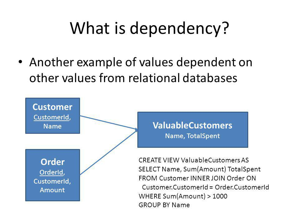 What is dependency? Another example of values dependent on other values from relational databases Customer CustomerId, Name Order OrderId, CustomerId,