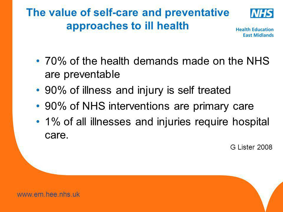 www.hee.nhs.uk www.em.hee.nhs.uk The value of self-care and preventative approaches to ill health 70% of the health demands made on the NHS are preventable 90% of illness and injury is self treated 90% of NHS interventions are primary care 1% of all illnesses and injuries require hospital care.