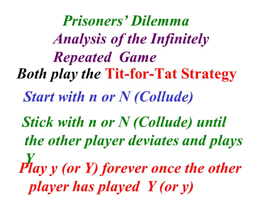 Either player payoff structure is as follows Get 0 always if stick with n (or N) Get 5 one-off with play y (or Y) and then (-5) forever