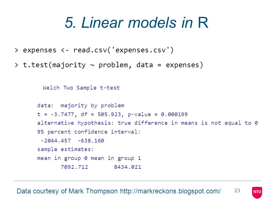 23 5. Linear models in R > expenses <- read.csv('expenses.csv') > t.test(majority ~ problem, data = expenses) Welch Two Sample t-test data: majority b