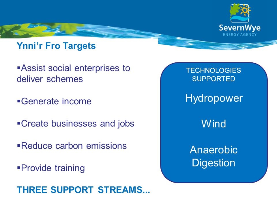 Ynni'r Fro Targets  Assist social enterprises to deliver schemes  Generate income  Create businesses and jobs  Reduce carbon emissions  Provide training THREE SUPPORT STREAMS...