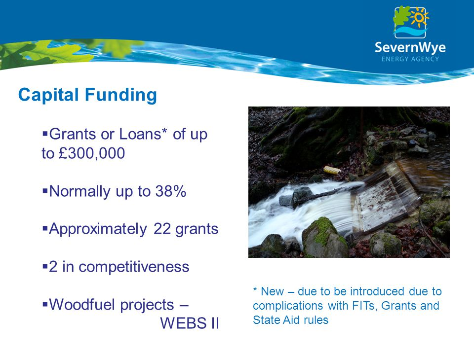 Capital Funding  Grants or Loans* of up to £300,000  Normally up to 38%  Approximately 22 grants  2 in competitiveness  Woodfuel projects – WEBS