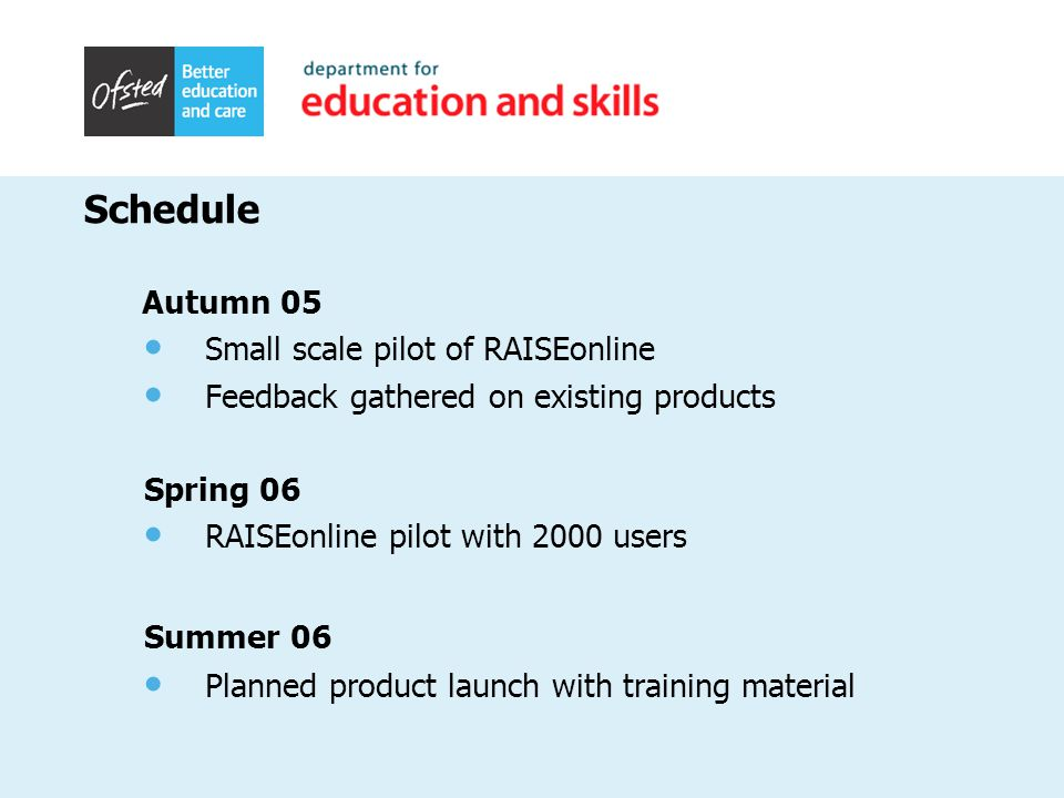 Schedule Autumn 05 Small scale pilot of RAISEonline Feedback gathered on existing products Spring 06 RAISEonline pilot with 2000 users Summer 06 Planned product launch with training material