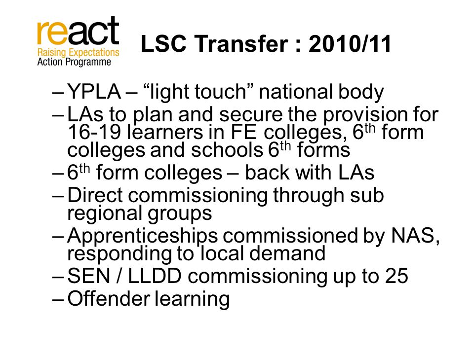 LSC Transfer : 2010/11 –YPLA – light touch national body –LAs to plan and secure the provision for 16-19 learners in FE colleges, 6 th form colleges and schools 6 th forms –6 th form colleges – back with LAs –Direct commissioning through sub regional groups –Apprenticeships commissioned by NAS, responding to local demand –SEN / LLDD commissioning up to 25 –Offender learning
