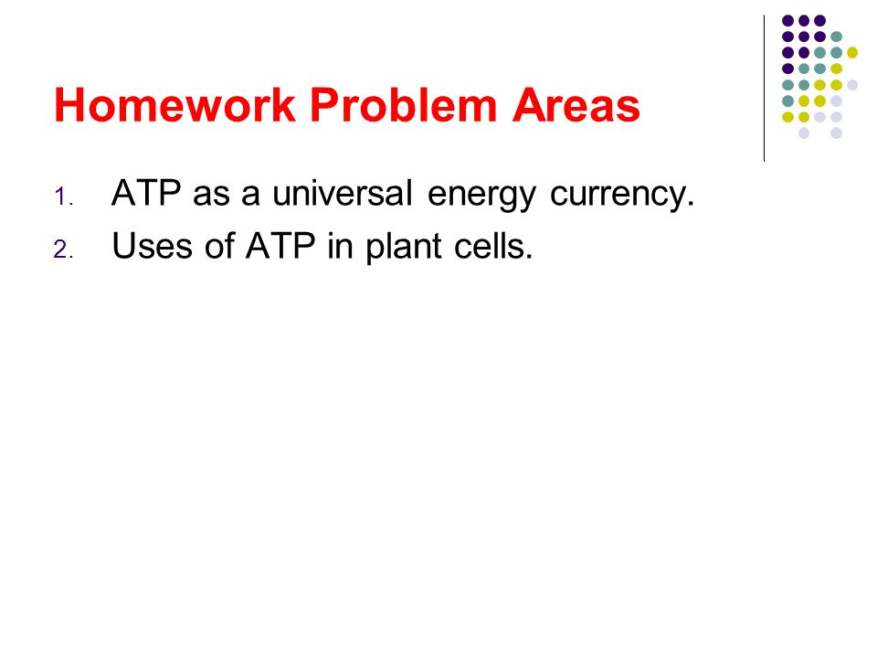 Homework Problem Areas 1. ATP as a universal energy currency. 2. Uses of ATP in plant cells.