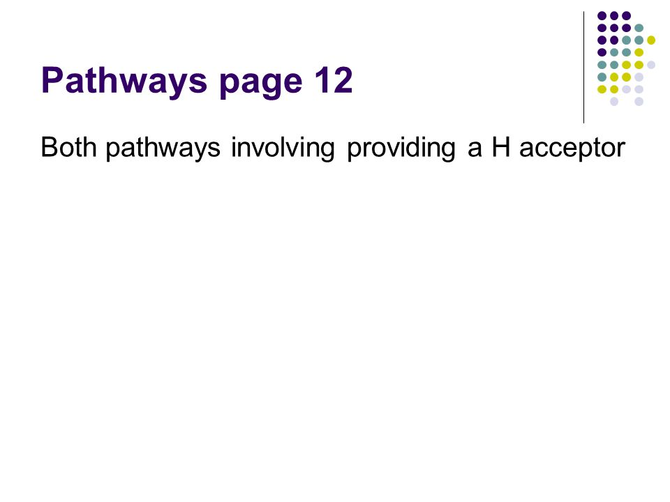 Pathways page 12 Both pathways involving providing a H acceptor