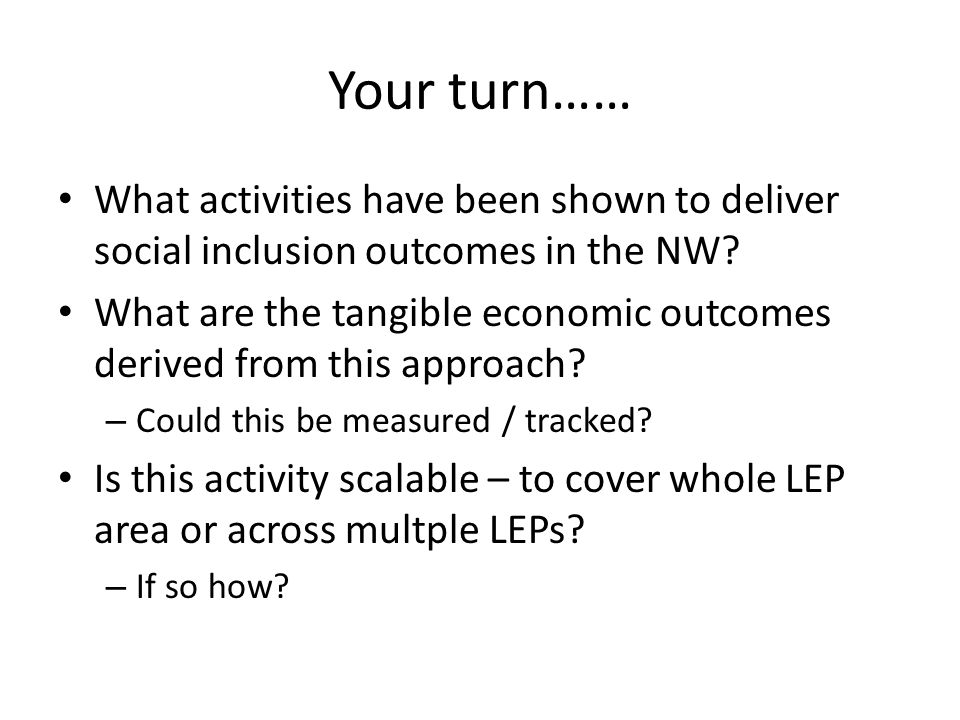 Your turn…… What activities have been shown to deliver social inclusion outcomes in the NW.