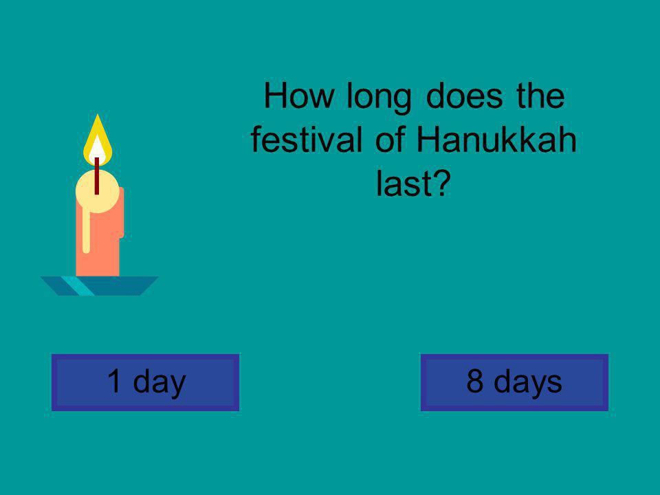 How long does the festival of Hanukkah last? 8 days1 day