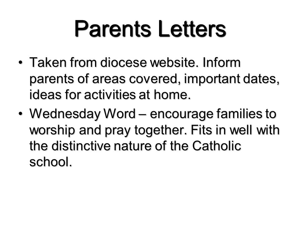 Parents Letters Taken from diocese website.