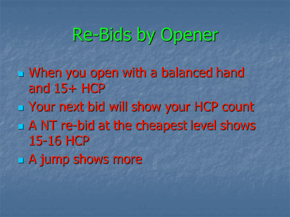 Re-Bids by Opener When you open with a balanced hand and 15+ HCP When you open with a balanced hand and 15+ HCP Your next bid will show your HCP count