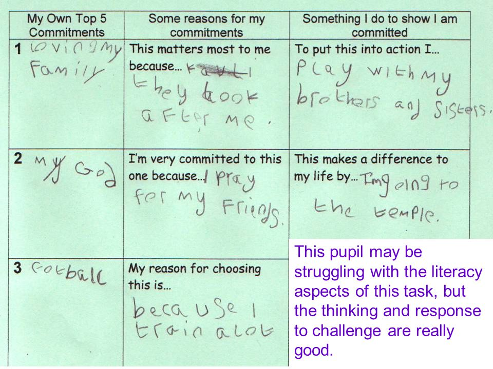 This pupil may be struggling with the literacy aspects of this task, but the thinking and response to challenge are really good.