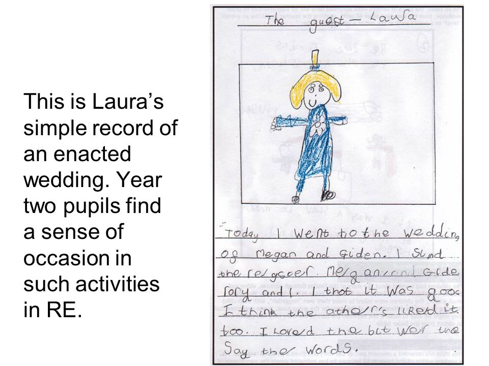 This is Laura's simple record of an enacted wedding.