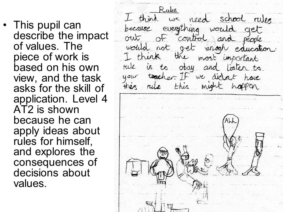 This pupil can describe the impact of values.