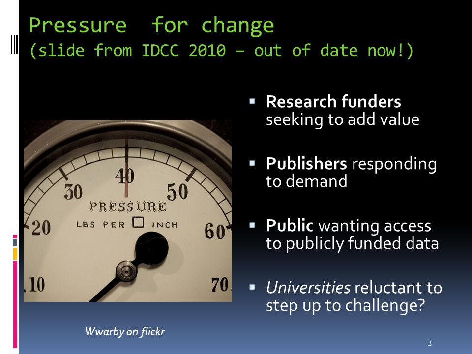 Pressure for change (slide from IDCC 2010 – out of date now!)  Research funders seeking to add value  Publishers responding to demand  Public wanting access to publicly funded data  Universities reluctant to step up to challenge.