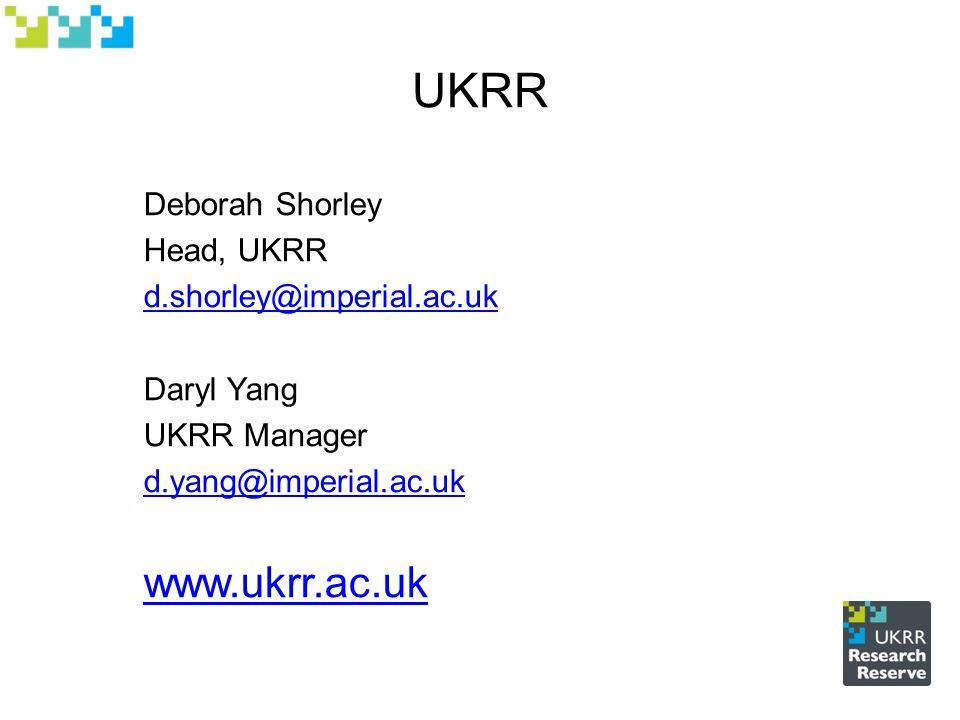 UKRR Deborah Shorley Head, UKRR d.shorley@imperial.ac.uk Daryl Yang UKRR Manager d.yang@imperial.ac.uk www.ukrr.ac.uk
